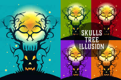 Skulls Tree Illusion Vector Illustration