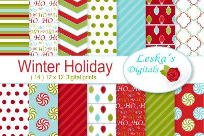 Winter Holiday Digital Paper