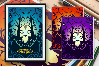 Halloween Hidden Skulls Illustration