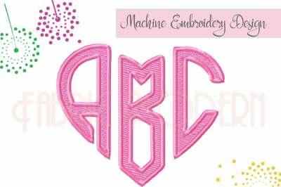HEART MONOGRAM, Three letter monogram, heart monogram font