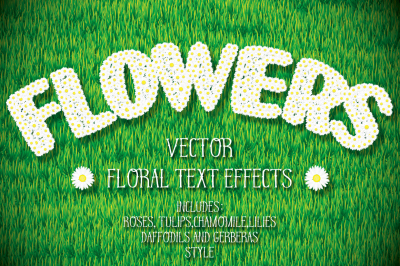 Flowers. Floral Vector Graphic Styles. Layer style and Text effects