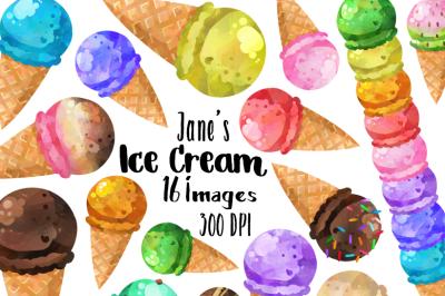 Watercolor Ice Cream Clipart