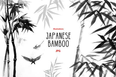 Ink sumi-e bamboo