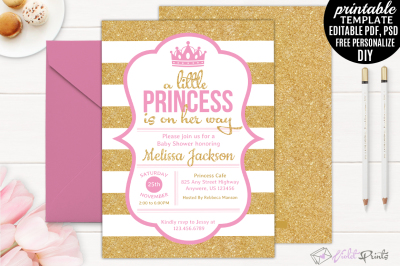 Gold And Pink Little Princess Baby Shower Invitation Template
