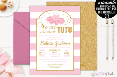 Tutu Excited Ballerina Baby Shower Invitation Template Girl Gold and Pink