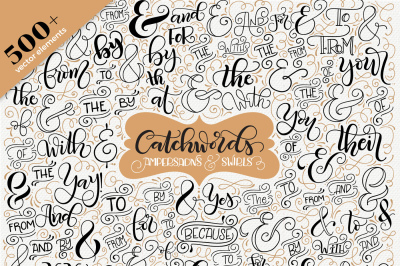 Catchwords, ampersands & swirls - Vector resources