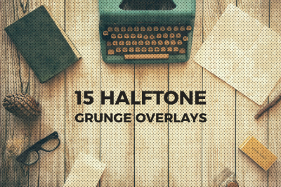 30 Halftone + Grunge Overlays