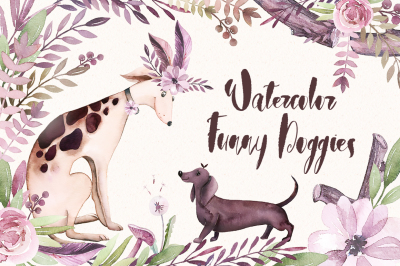Watercolor Funny Doggies