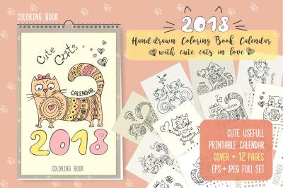 Coloring book calendar 2018