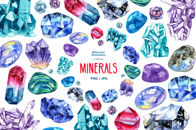 Watercolor minerals and gems