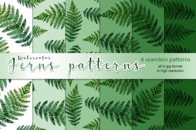 Watercolor ferns patterns