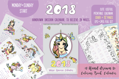 Cute Unicorns- calendar 2018