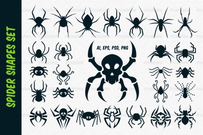 Spider Vector Shapes Set for Halloween