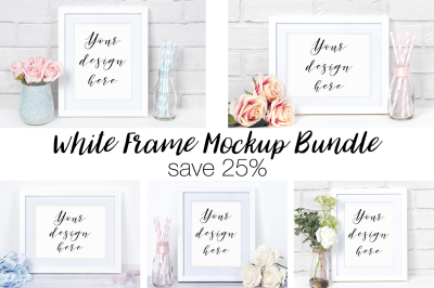 25% Off White Frame Mockup Bundle