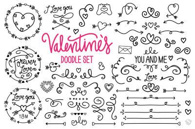 Valentine's Vector Doodle Set
