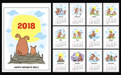 Funny dogs. Wall calendar 2018.