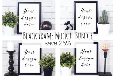 25% Off Black Frame Mockup Bundle