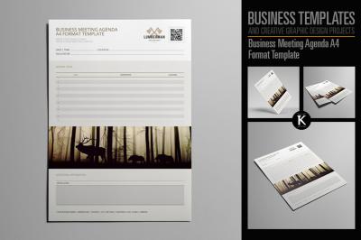 Business Meeting Agenda A4 Format Template