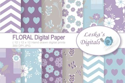 Floral Digital Paper Pack in Purple, lilac, lavender