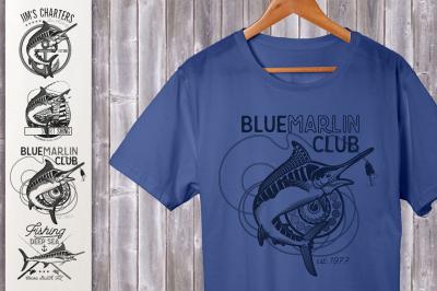 Set of Marlin Fishing Emblems