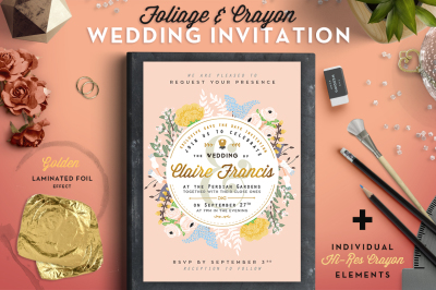 Foil & Crayon Wedding Invite II