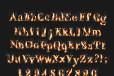 Fire burning alphabet and numbers