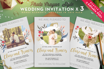 Photo Crayon Wedding Invite I