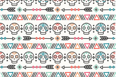 Day of the dead print. Tribal mexican ethnic seamless pattern.