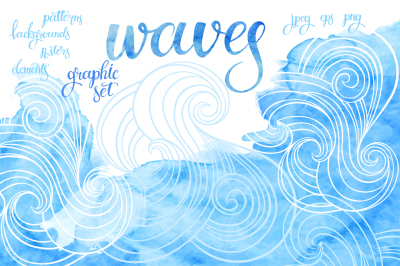 Waves. Graphic set.