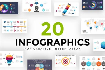 20 Infographics | PSD, AI, PPT, KEY