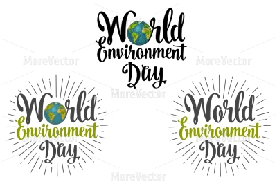 World environment day hand lettering and Earth with rays.