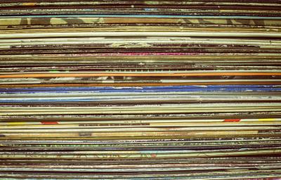 Stack of classic album covers