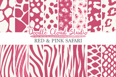 Red and Pink Animal Safari digital paper Purple Wine Fur pattern Giraffe Zebra Leopard Snake Tiger backgrounds for Personal & Commercial Use
