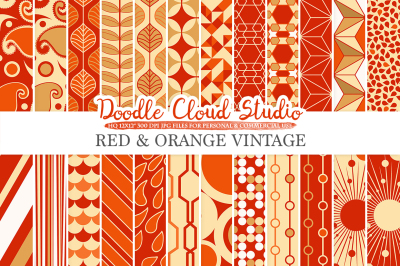 Red and Orange Retro digital paper, Geometric Vintage patterns, Red and Gold digital backgrounds for Personal & Commercial Use