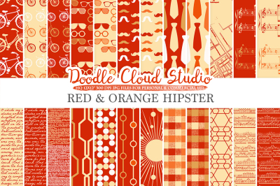 Red and Orange Hipster digital paper, Gold Vintage Father's day tie mustaches bikes music glasses plaid patterns, Personal & Commercial Use