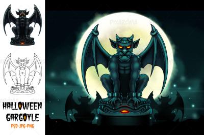 Halloween Gargoyle Illustration - Digital Painting