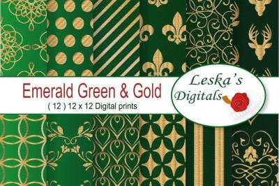 Digital Paper Patterns - Emerald Green Royal Sccrapbooking
