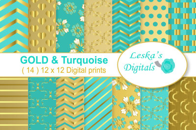 Gold Turquoise Scrapbook Paper