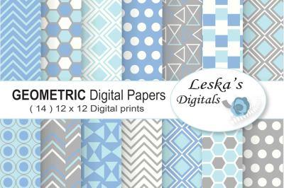Geometric Digital Paper Blue and Grey