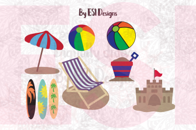 Beach Mini Bundle - SVG, DXF, EPS & PNG - Cutting files and clipart
