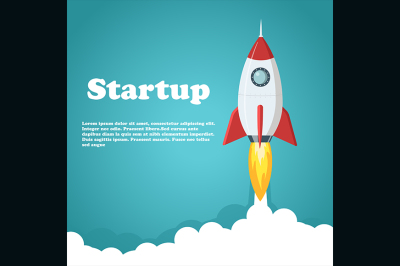Rocket launch.Business or project startup banner concept