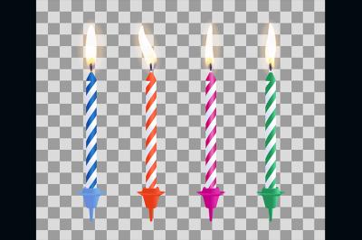 Realistic burning birthday cake candles set