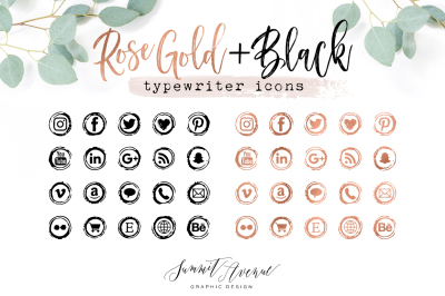 Rose Gold & Black Vintage Typewriter Icons