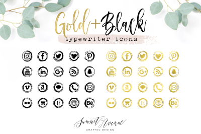 Gold Foil Vintage Typewriter Icons