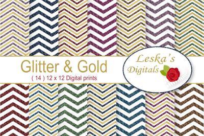 Glitter and Gold Chevron