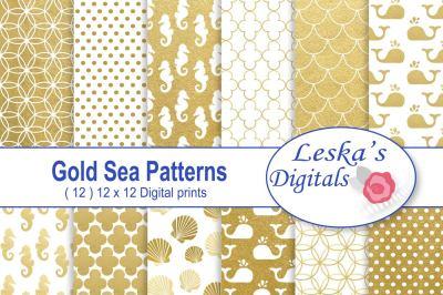 Gold Sea Patterns Digital Paper