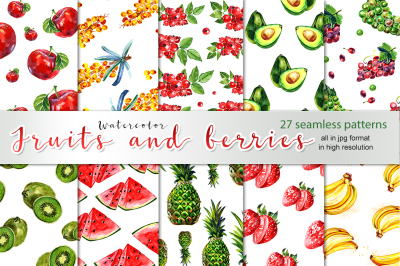 27 watercolor fruits patters