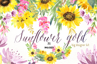 Sunflowers gold. Watercolor clipart.