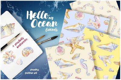 Watercolor sea shells and seahorse