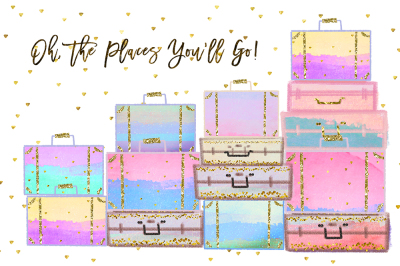 Summer Vacation Travel Clip art, Planner Stickers, Photography Branding, Digital Cliparts, rainbow pastel graphics resources Fabric Backdrop